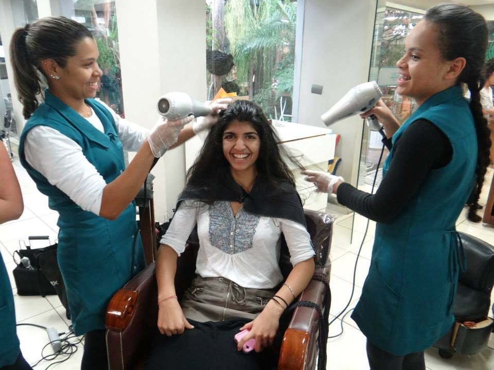 Niki getting pampered at Laces and Hair